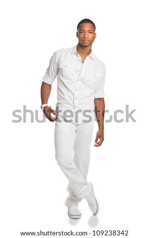 Natural Looking Young African American Fashion Male Model on Isolated Background - stock photo