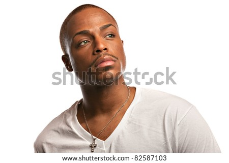 Natural Looking Young African American Male Model on Isolated Background - stock photo