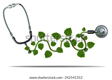 Natural medicine and alternative therapy concept as a doctor stethoscope with plant leaves growing on the medical equipment as a symbol for green health. - stock photo