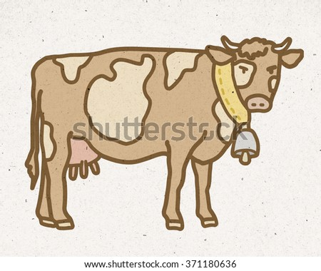 natural mountain cow with bell - stock photo