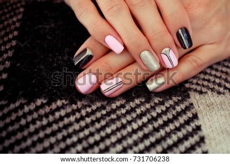 Natural Nails Gel Polish Stylish Nails Stock Photo (Royalty Free ...