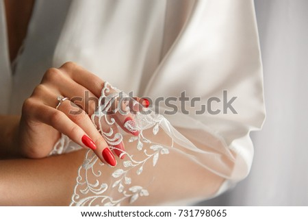 Natural Nails Red Manicure Colorful Polish Stock Photo (Royalty Free ...