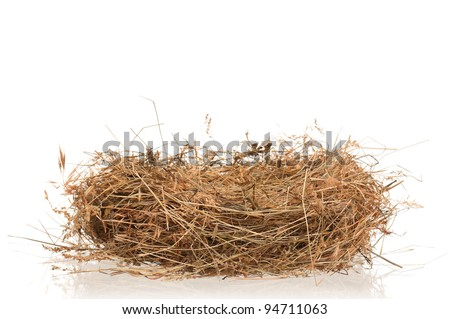 Natural nest of hay isolated on white background