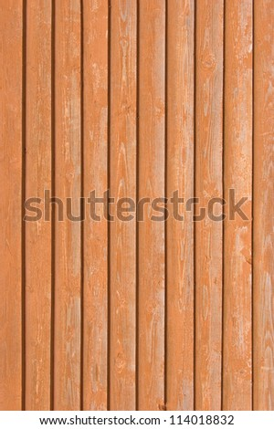 Natural old wood fence planks, wooden close board texture, overlapping light reddish brown closeboard terracotta background pattern copy space - stock photo
