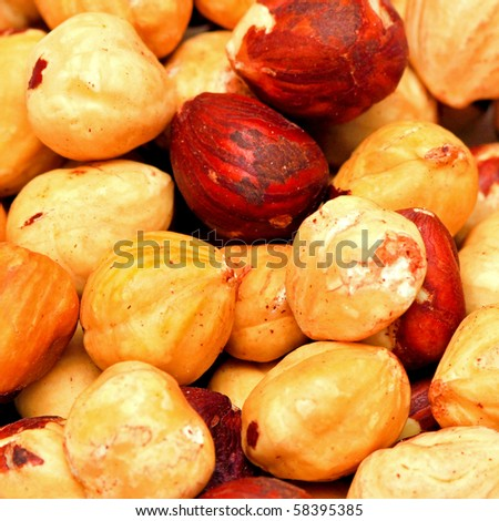 Natural organic raw hazelnuts without shell pattern