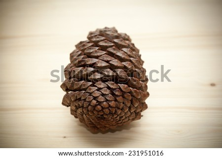 Natural pine cone on a wooden surface  - stock photo