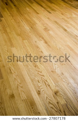 Natural plank hardwood oak flooring. - stock photo