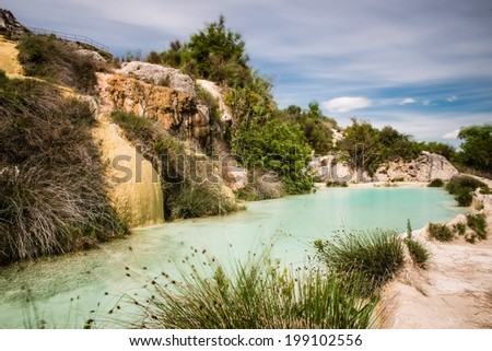 Natural pool in Etruscan spa Bagno Vignone, Italy - stock photo