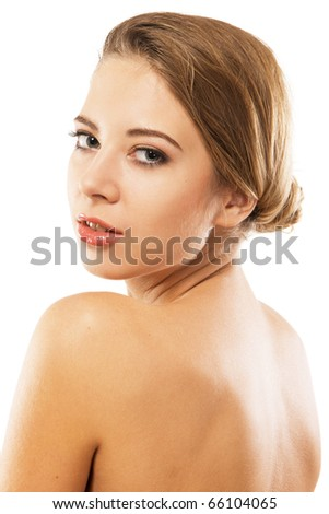 Natural portrait of a beautiful woman, white background - stock photo