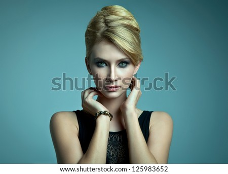 Natural portrait of beautiful blonde woman - stock photo