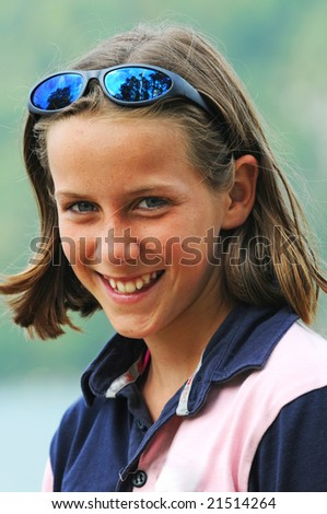natural portrait of girl smiling - stock photo
