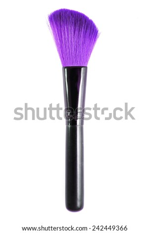 Natural purple colored professional makeup brush. Isolated on white background.  - stock photo