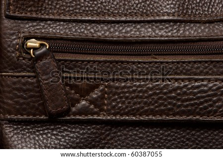Natural qualitative brown leather - stock photo