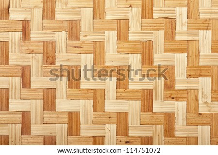Natural rattan in a woven pattern from a handmade tray. - stock photo