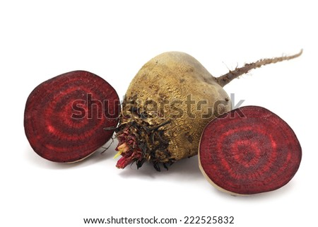 Natural red beets on a white background  - stock photo