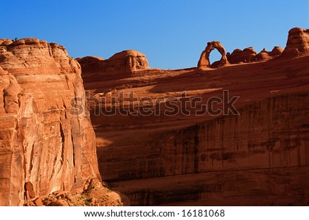 Natural red rock arches at Arches National Park in Utah USA - stock photo