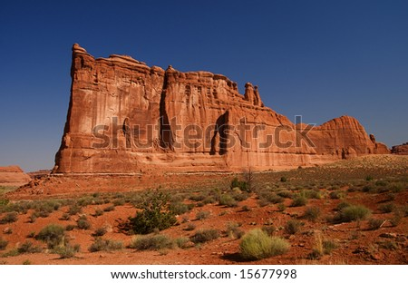 Natural red rocks at Arches National Park in Utah USA - stock photo