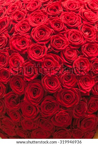 Natural red roses background pattern - stock photo