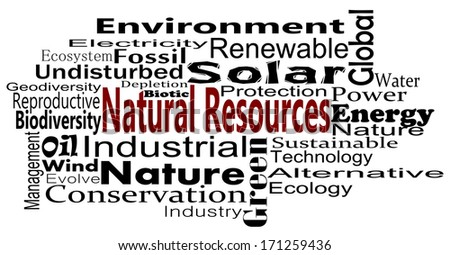Natural Resources and conservation Word Cloud - stock photo