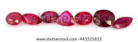 Natural Ruby Gemstones - stock photo