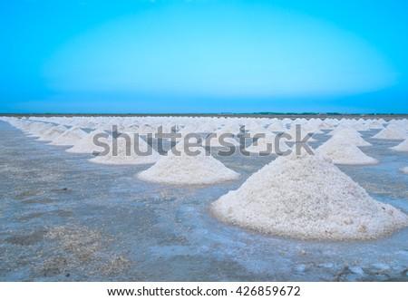 Natural Salt in  salt farm at Phetchaburi,Thailand - Selective focus. - stock photo