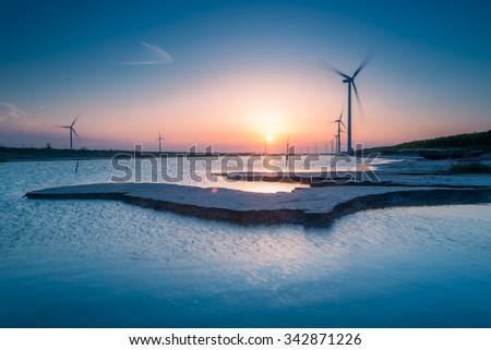 Natural scenery of wind power generation in the Yellow Sea, China