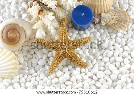 Natural sea spa elements on white pebbles - stock photo