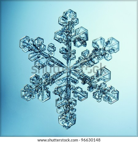 natural snowflake macro ice crystal - stock photo