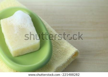 Natural soap bar on a  dish - stock photo