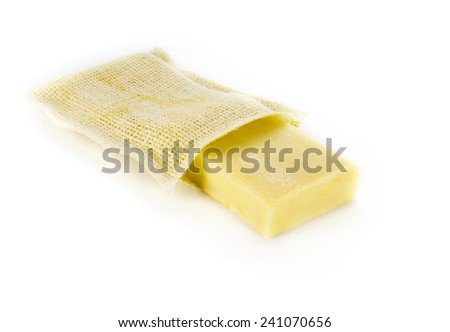 Natural soap on white background