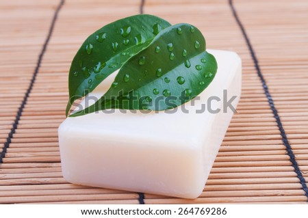 Natural soap with leaves on the table - stock photo