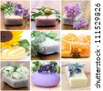 natural soaps - collage with nine pictures - stock photo