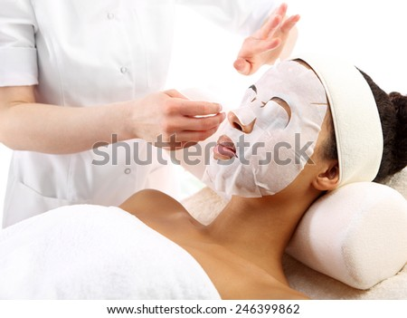 Natural spa, a woman in the mask collagen. Facials, beauty treatments, natural spa