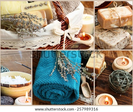 Natural Spa and Wellness Collage Made of Four Spa Photography Sittings and Body-Care Products - stock photo