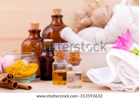 Natural Spa Ingredients Aromatherapy and Natural Spa theme  on wooden background. - stock photo