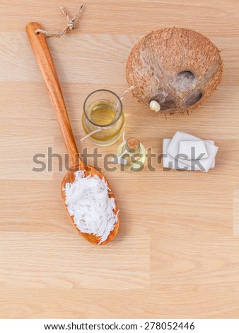 Natural Spa Ingredients . - Coconut essential Oil for alternative therapy. - stock photo
