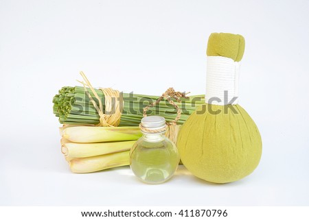 Natural Spa Ingredients Lemongrass essential Oil with Aromatherapy - stock photo