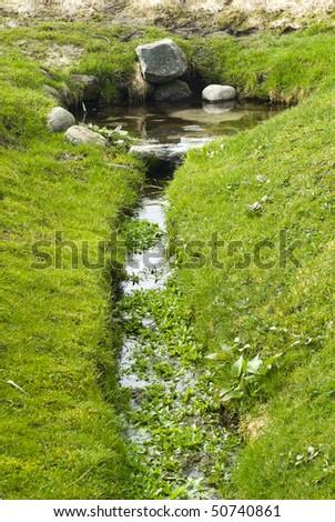 Natural spring, Helligkilde, in Westrn Jutland. - stock photo