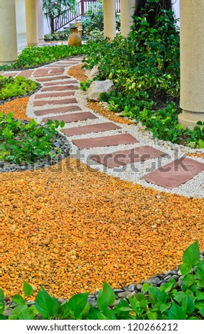Natural Stone Walkway Decorative In Home Garden With Stairs