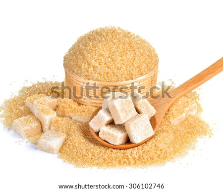 Natural sugar on white background