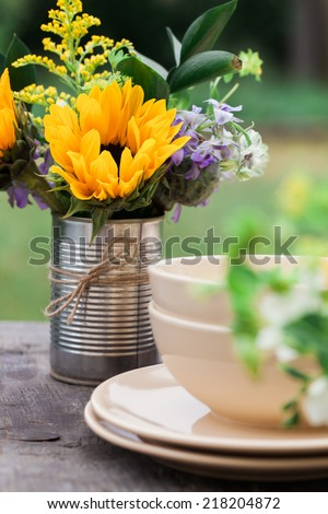 Natural table setting - stock photo