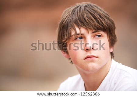 natural teen portrait against blurred background - stock photo