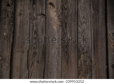 Natural texture backdrop of old retro vintage aged brown wooden board plank table or wall house fence floor background with dark frame Metal nails hammered Empty copy space for inscription - stock photo