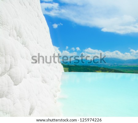 Natural travertine pools and terraces in Pamukkale Turkey - stock photo