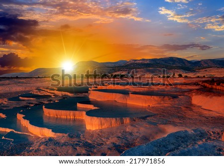 Natural travertine pools and terraces, Pamukkale, Turkey  - stock photo