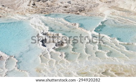"""Natural travertine pools and terraces texture at Pamukkale ,Turkey. Pamukkale, meaning """"cotton castle"""" in Turkish. - stock photo"""