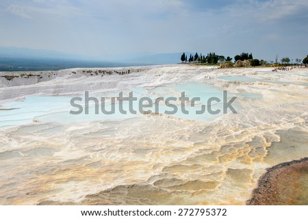 Natural travertine terraces and pools in Pamukkale ,Turkey (Cotton Castle). UNESCO World Heritage