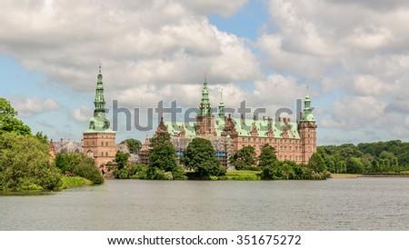 Natural view to Frederiksborg Slot, in Hillerod near Copenhagen, Denmark - stock photo