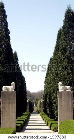 Natural walkway into Allerton Park, Monticello, IL - stock photo