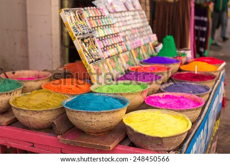 Natural water color esence in India - stock photo